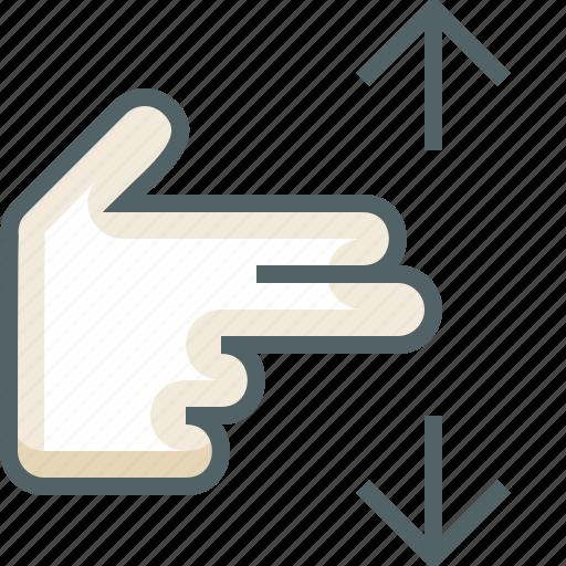 finger, gestureworks, swipe, two, vertical icon