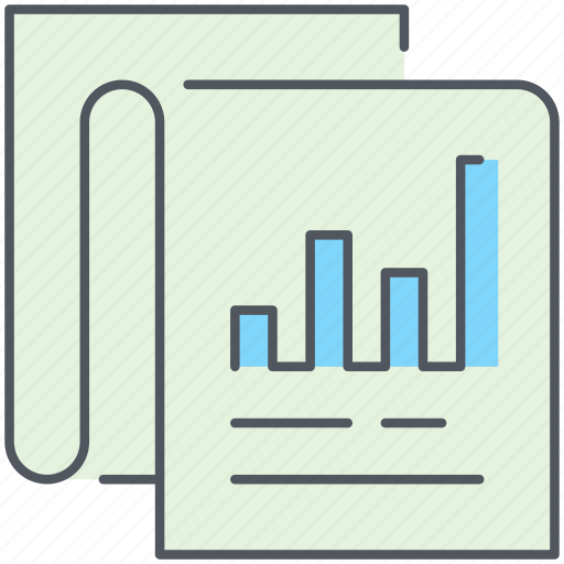 business, finance, gain, paper, profit, report, statistics icon