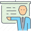 business, businessman, finance, lecture, man, presentation, presenter icon