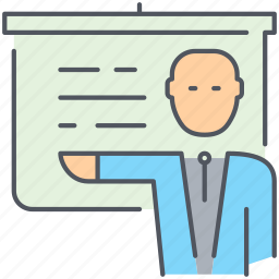 business, businessman, finance, lecture, man, presentation, presenter icon