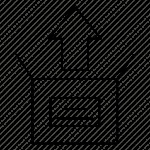 arrow, box, carton, package icon