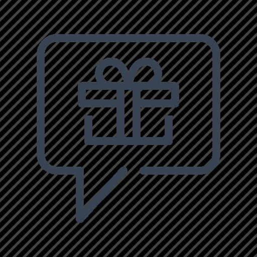gift, message, talk icon