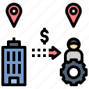 freelance, outsource, affiliate, remote, location icon