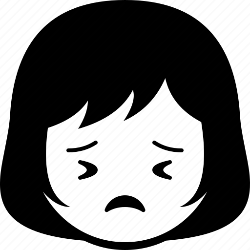 emoticon, expression, face, girl, perserve, woman icon