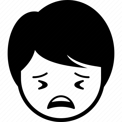 boy, emoticon, expression, face, man, tired icon