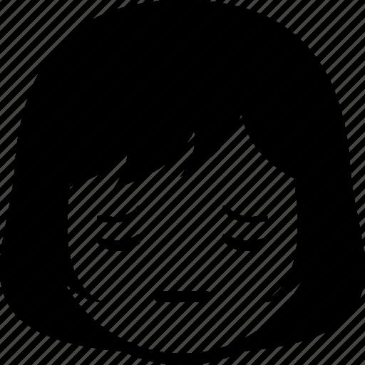 emoticon, expression, face, girl, pensive, woman icon
