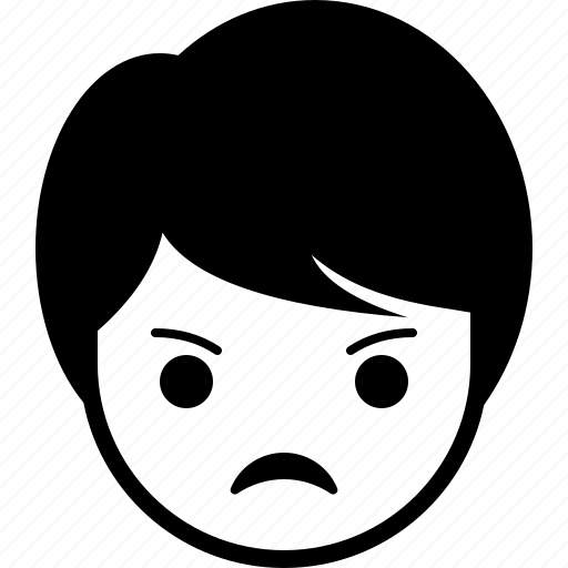 angry, boy, emoticon, expression, face, man icon