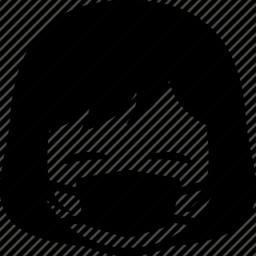 emoticon, expression, face, facemask, girl, sick, woman icon