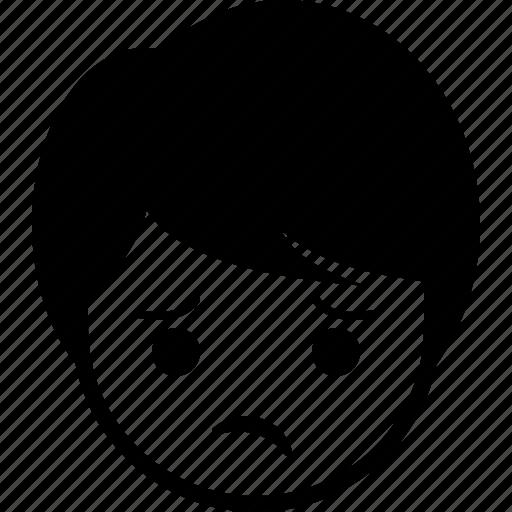 boy, emoticon, expression, face, man, unhappy icon