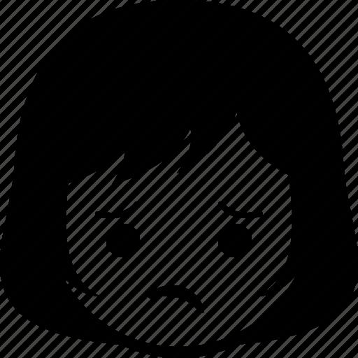 emoticon, expression, face, girl, unhappy, woman icon
