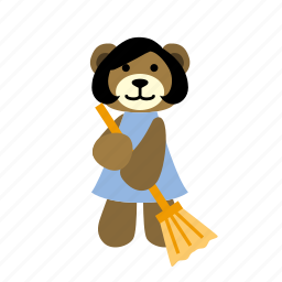 bear, broom, character, clean, cute, hold, sweeps icon