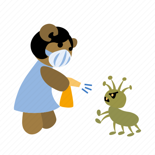 angry, bear, bug, character, fight, pest, spraying icon