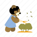 bear, bush, character, cutting, gardener, prunning shears, working icon