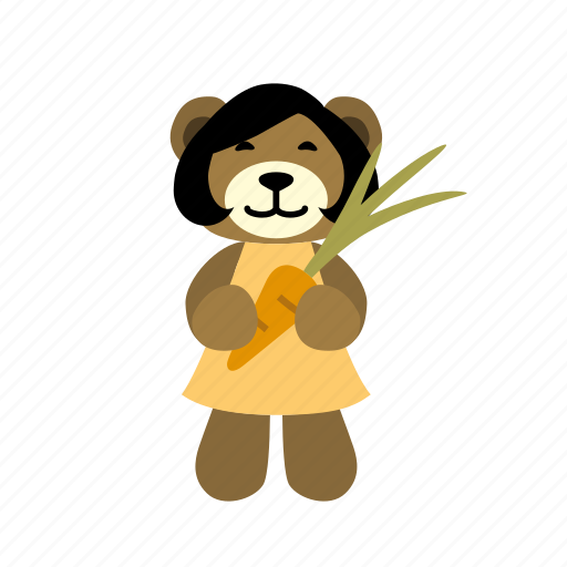 bear, carrot, cheerful, happy, harvest, hold, vegetable icon