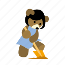 bear, character, dig, ground, hold, spade, work icon