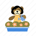 box, flower, happy, hold, plant, watering can, watering pot icon