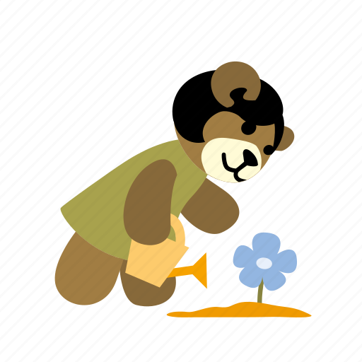 bear, flower, ground, plant, watering, watering can, watering pot icon