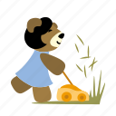 cut, fun, grass, happy, lawn mower, run, tool icon