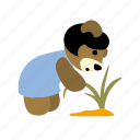 bend down, character, grass, plant, pull, weed, worry icon