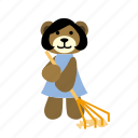 bear, character, clean, happy, hold, rake, sweeps icon