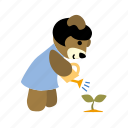 bear, character, gardener, sprout, watering, watering can, watering pot icon