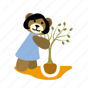 bear, girl, hold, hole, plant, smile, tree icon