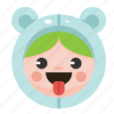 animal, bear, costume, cute, funny, girl, onesie icon
