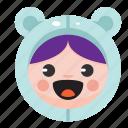 animal, bear, costume, cute, funny, girl, onesie