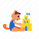 actitivy, castle, cat, make, sand, sitting, summer icon