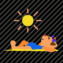 cat, happy, lay, rest, sand, sun, sunbathing icon