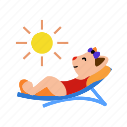 cat, happy, lay in the sun, relaxation, summer, sunbathing, sunlounger icon