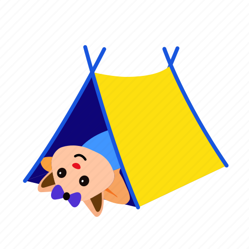 animal, camping, cat, happy, lay, rest, tent icon