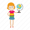 geography, girl, globe, student icon