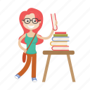 bibliographer, book, girl, librarian, nerd icon
