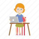 girl, laptop, student, working icon