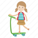 girl, kid, play, riding, scooter icon