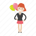 balloon, teacher, girl, kid