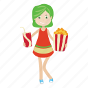 girl, kid, popcorn icon