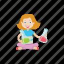 girl, kid, lab, scientist icon