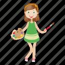 artist, girl, kid, painter, student icon