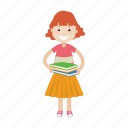 book, girl, read, student icon
