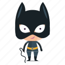 batwoman, child, emoji, emoticon, girl, sticker icon