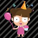 birthday, child, emoji, emoticon, girl, sticker icon