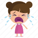 child, crying, emoji, emoticon, girl, sticker icon