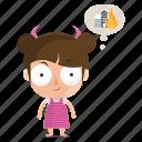 child, emoji, emoticon, evil, girl, sticker icon