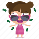 child, emoji, emoticon, girl, money, sticker icon