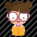 child, emoticon, girl, emoji, reading, sticker