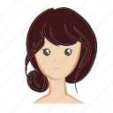 color, emoji, face, girl, hair, head, woman icon