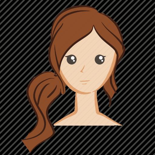 color, emoji, face, girl, hair, head, woman icon