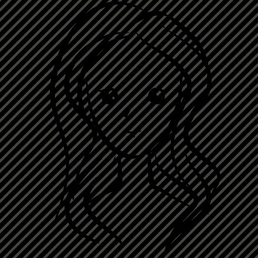 beauty, emoji, face, girl, hair, head, woman icon